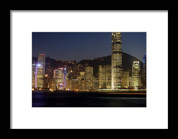 City Framed Print featuring the photograph Hong Kong Harbor December 1 by Brad Rickerby