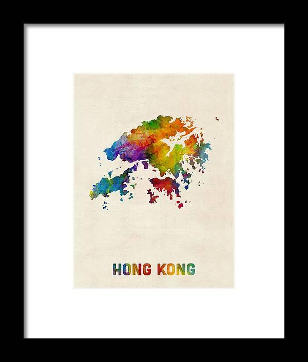 Map Art Framed Print featuring the digital art Hong Kong Watercolor Map by Michael Tompsett