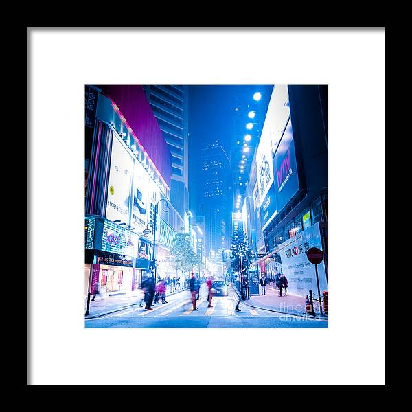 Hong Kong Framed Print featuring the photograph Hong Kong Night Street by Perfect Lazybones