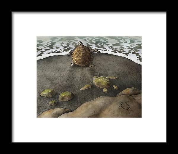 Ocean Framed Print featuring the painting Honu Beach by Kirsten Carlson