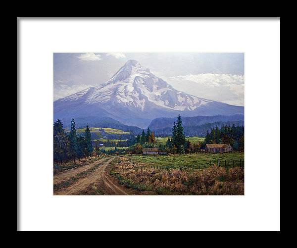 Mt Hood Oregon From Hood River Valley Framed Print featuring the painting Hood River Valley by Donald Neff