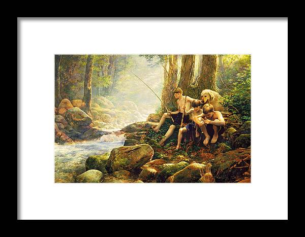 Fishing Framed Print featuring the painting Hook Line And Summer by Greg Olsen