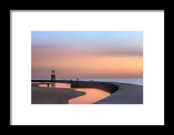 Dawn Framed Print featuring the photograph Hook Pier Lighthouse - Chicago by Nikolyn McDonald