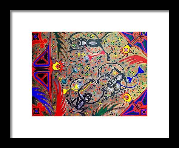 Contemporary Folk Art Framed Print featuring the painting Hookah Monkeys - Jinga Monkeys Series by Fareeha Khawaja