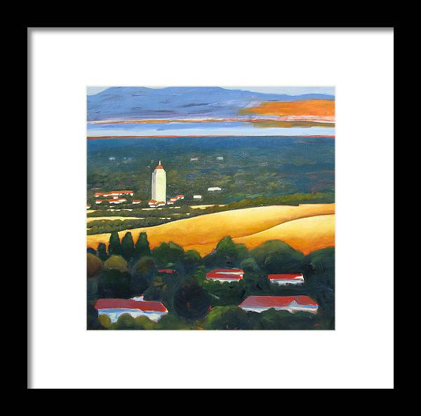 Stanford University Framed Print featuring the painting Hoover Tower From Hills by Gary Coleman