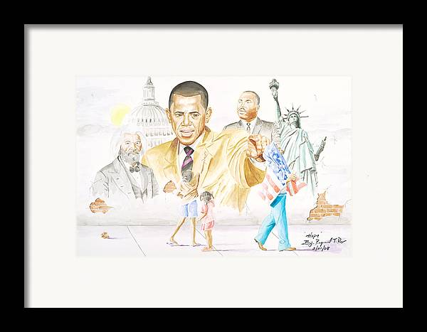 Barack Obama Framed Print featuring the painting Hope                         by Sandra Pryer