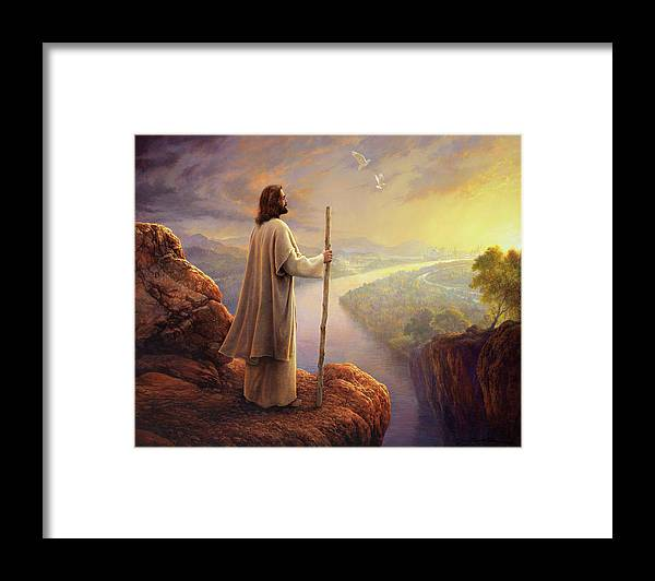 Jesus Framed Print featuring the painting Hope on the Horizon by Greg Olsen