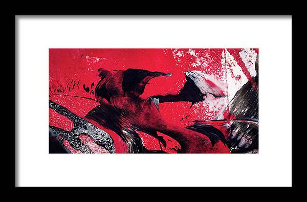 hope red black and white abstract art painting framed print by