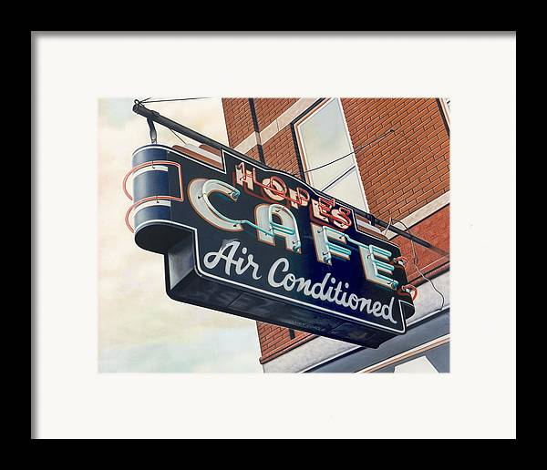 Cityscape Framed Print featuring the painting Hope's Cafe by Van Cordle