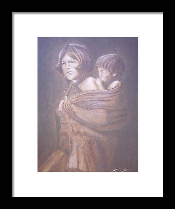 Indians Framed Print featuring the painting Hopi Mother by KC Knight