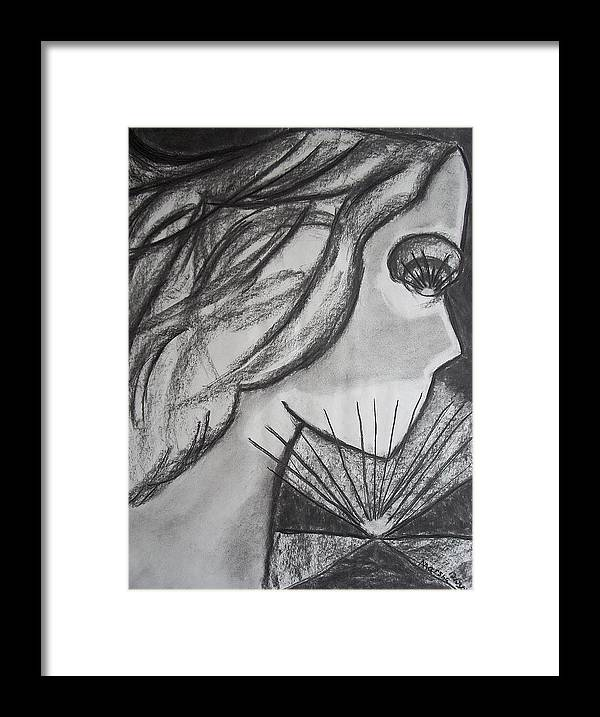 Face Framed Print featuring the drawing Horizon by Marsha Ferguson