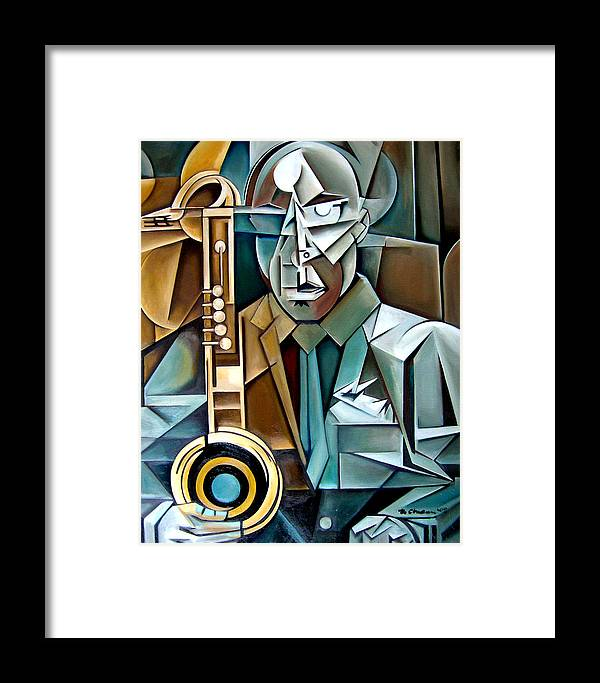 Jazz Saxophone Tim Warfield Framed Print featuring the painting Horn And Man by Martel Chapman