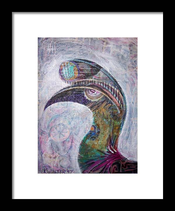 Bird Framed Print featuring the mixed media Hornbill by Dave Kwinter