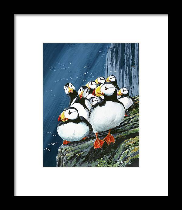 Puffin Framed Print featuring the painting Horned Puffins At Rest by Bob Patterson
