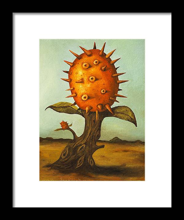Horny Framed Print featuring the painting Horned Melon by Leah Saulnier The Painting Maniac