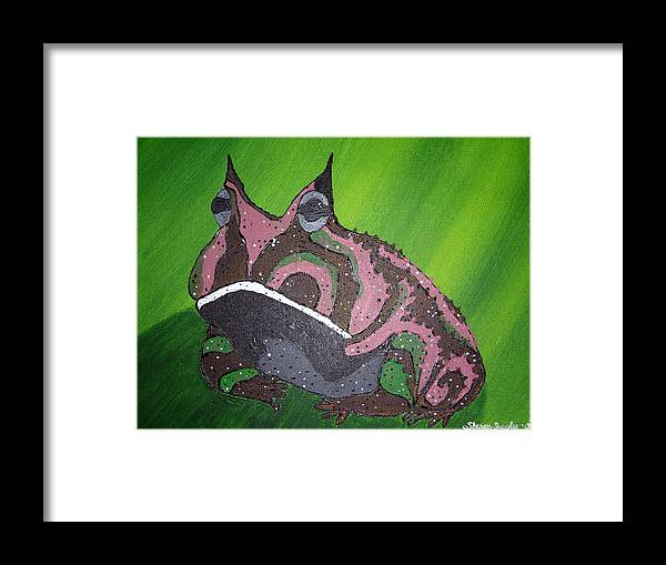 Amazon Horned Frog Framed Print featuring the painting Horny by Sharon Supplee
