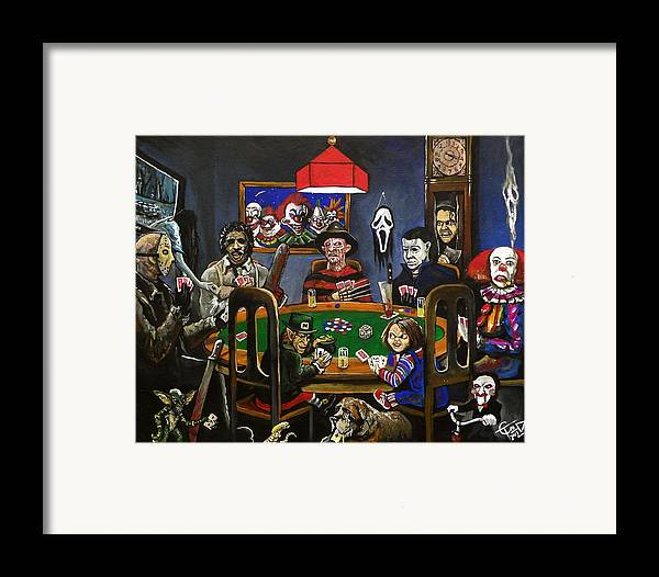 Horror Framed Print featuring the painting Horror Card Game by Tom Carlton