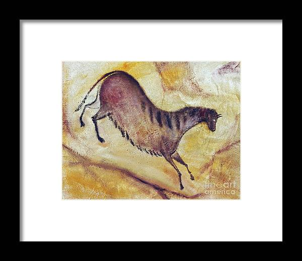 Prehistoric Framed Print featuring the painting Horse A La Altamira by Michal Boubin