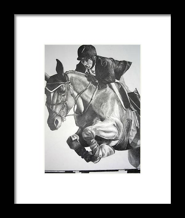 Horse Framed Print featuring the drawing Horse And Jockey by Darcie Duranceau