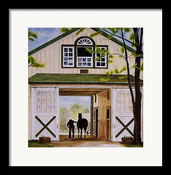 Landscape Framed Print featuring the painting Horse Barn by Michael Lewis