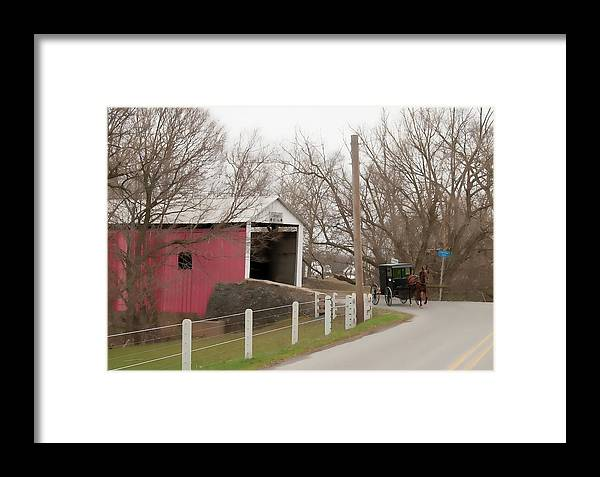 Bridge Framed Print featuring the photograph Horse Buggy And Covered Bridge by David Arment
