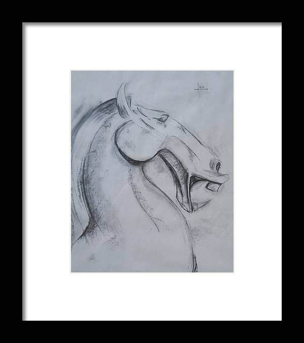 Horse Framed Print featuring the drawing Horse face by Victor Amor