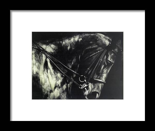 Horse Framed Print featuring the digital art Horse In The Dark II by Bayland Collection