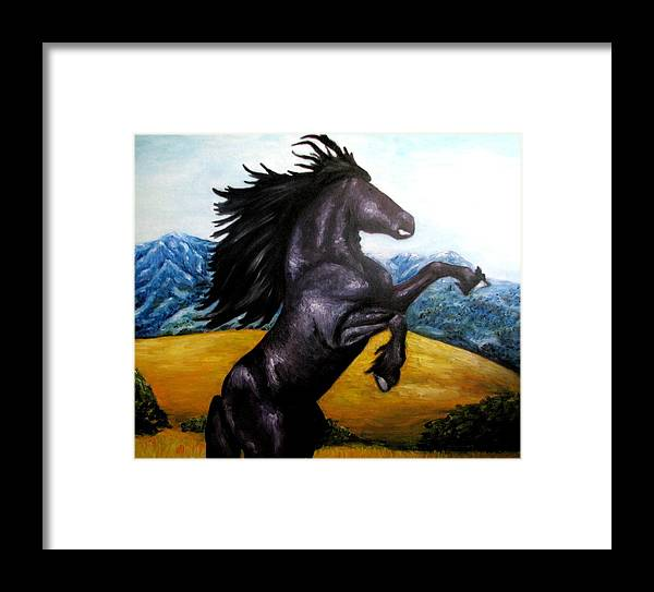 Horse Framed Print featuring the painting Horse Oil Painting by Natalja Picugina