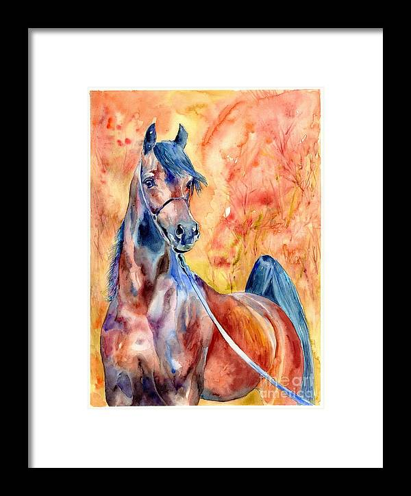 Horse Framed Print featuring the painting Horse On The Orange Background by Suzann Sines