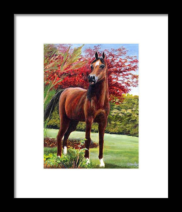 Horse Framed Print featuring the painting Horse Portrait by Eileen Fong