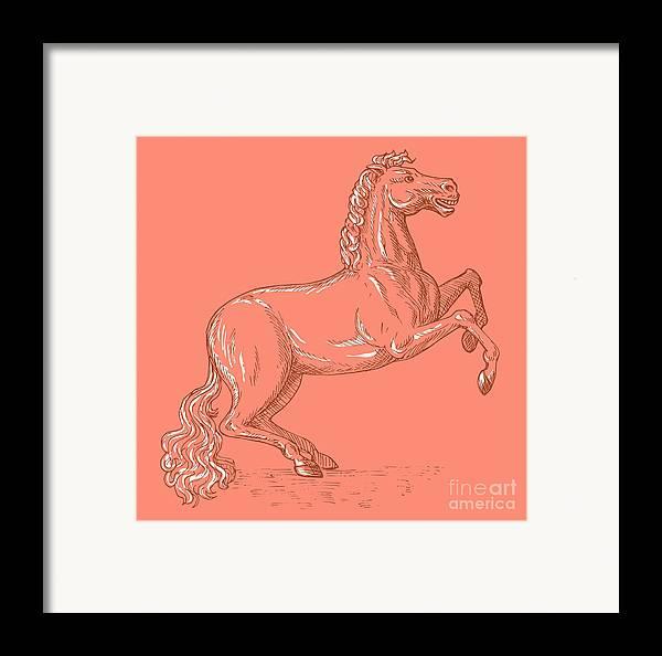 Horse Framed Print featuring the digital art Horse Prancing by Aloysius Patrimonio