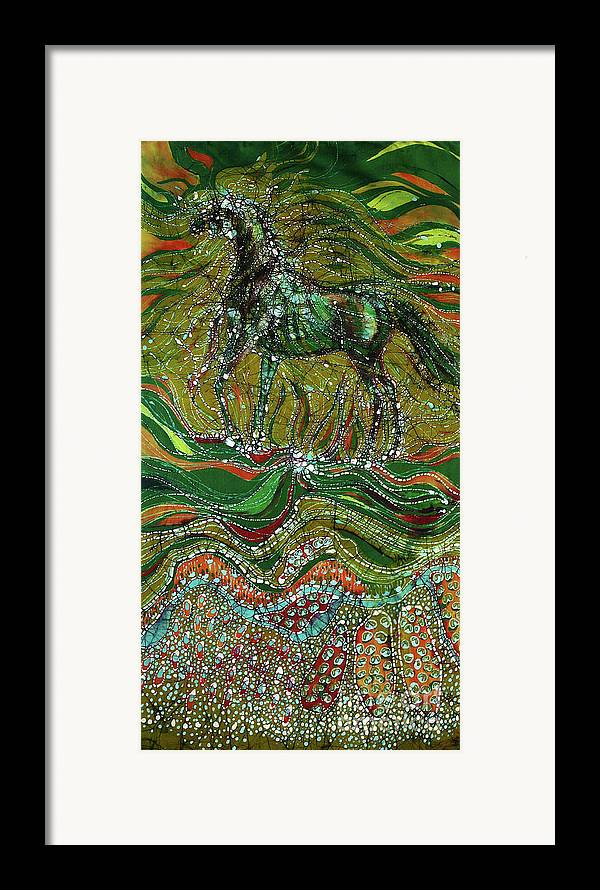 Horse Framed Print featuring the tapestry - textile Horse Rises From The Earth by Carol Law Conklin