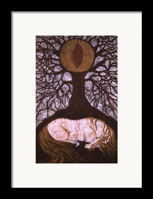 Horse Framed Print featuring the tapestry - textile Horse Sleeps Below Tree Of Rebirth by Carol Law Conklin