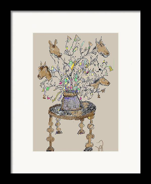 Horse Framed Print featuring the mixed media Horse Table by Joyce Goldin