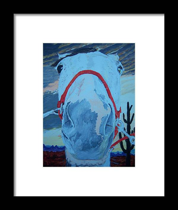 Horse Framed Print featuring the painting Horse With No Name by Ken Day