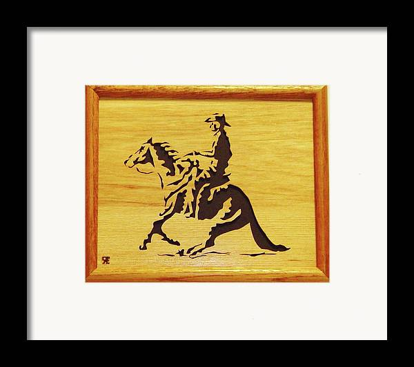 Sculpture Framed Print featuring the sculpture Horse With Rider by Russell Ellingsworth