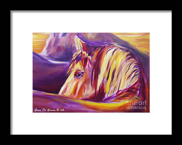 Horses Framed Print featuring the painting Horse World Detail by Gina De Gorna