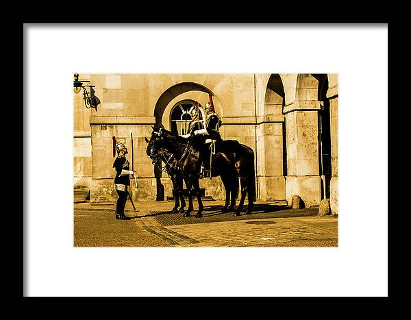 Horseguard Framed Print featuring the photograph Horseguards Inspection. by Nigel Dudson