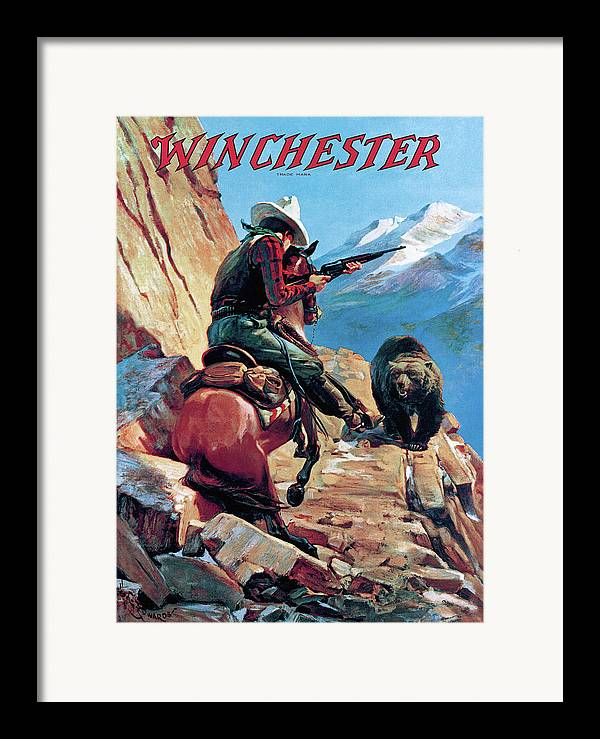 Cowboy Framed Print featuring the painting Horseman And Bear by H G Edwards