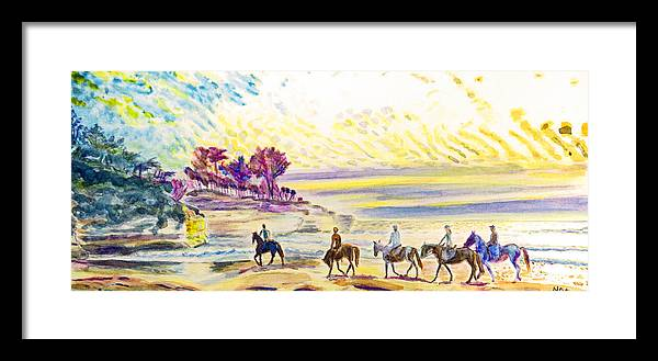 Seascape Framed Print featuring the painting Horsemen by Aymeric NOA