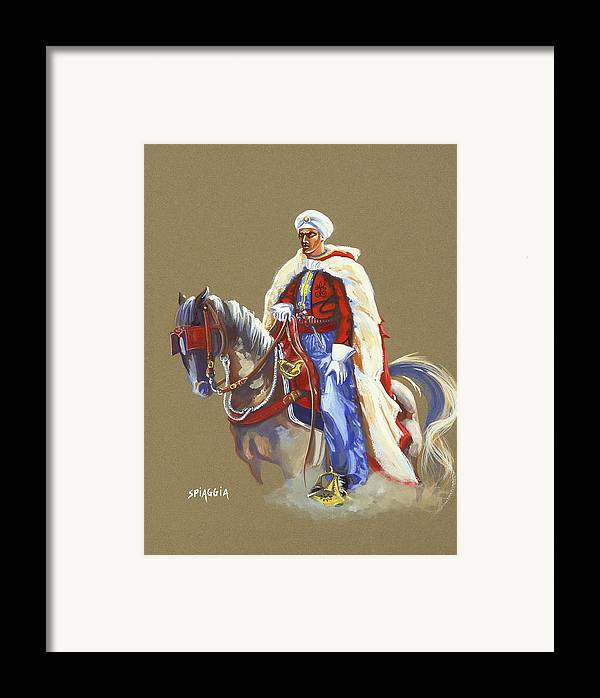 Horse Framed Print featuring the painting Horseriding Spahi Recruit by Josette SPIAGGIA