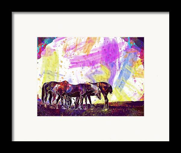 Horses Framed Print featuring the digital art Horses Flock Pasture Animal by PixBreak Art