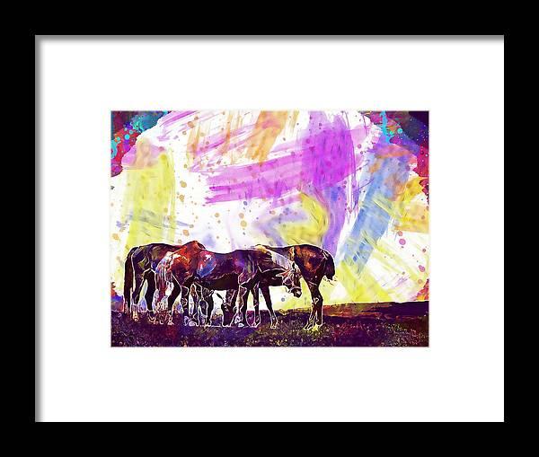 Horses Framed Print featuring the digital art Horses Flock Pasture Animal by PixBreak Art
