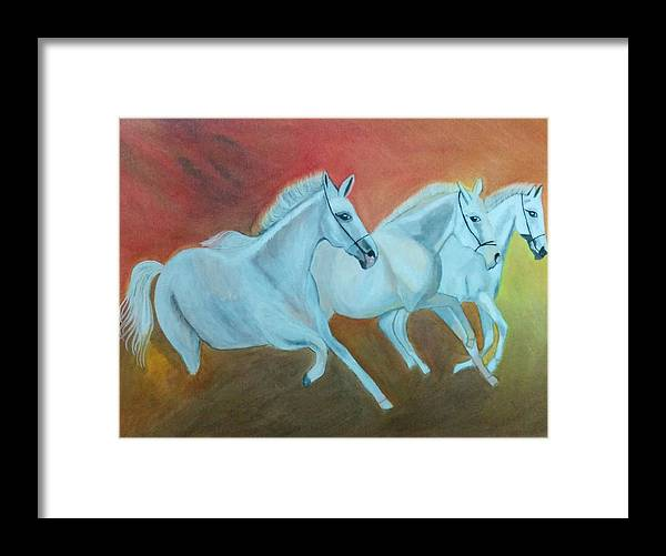 Original Painting Framed Print featuring the painting Horses Gone Wild by Shweta Singh