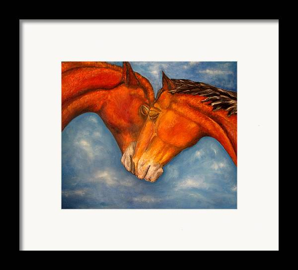 Horses Framed Print featuring the painting Horses In Love.oil Painting by Natalja Picugina