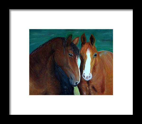 Horses Framed Print featuring the painting Horses by Taly Bar