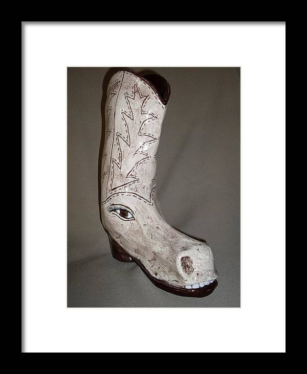 Horse Shoe Pun Joke Funny Humor Boot Framed Print featuring the sculpture Horseshoe by Sally Van Driest