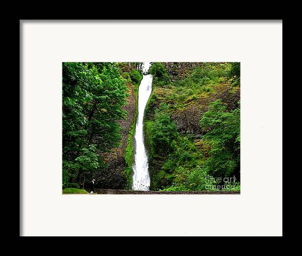 Waterfall Framed Print featuring the photograph Horsetail Falls by PJ Cloud