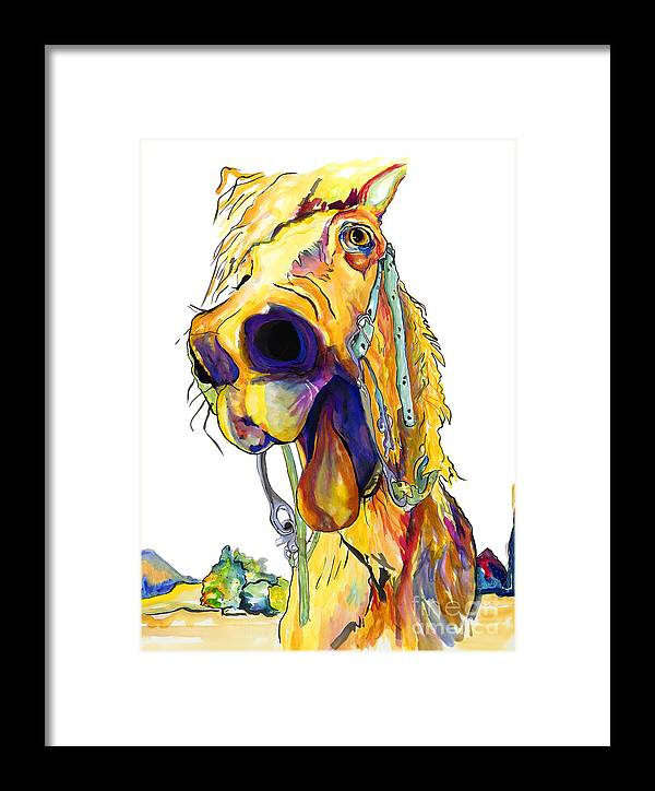 Animal Painting Framed Print featuring the painting Horsing Around by Pat Saunders-White