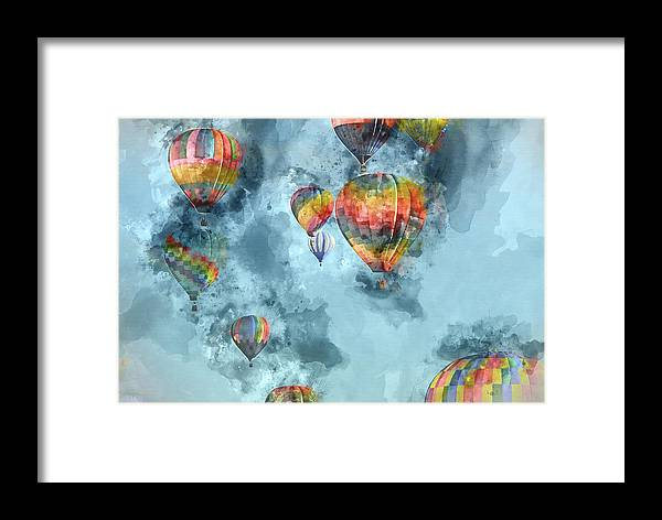 Ballooning Framed Print featuring the painting Hot Air Balloons Digital Watercolor On Photograph by Brandon Bourdages
